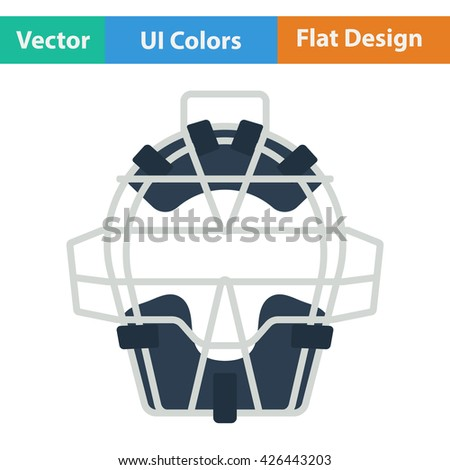 Baseball face protector icon. Flat design. Vector illustration. - stock vector