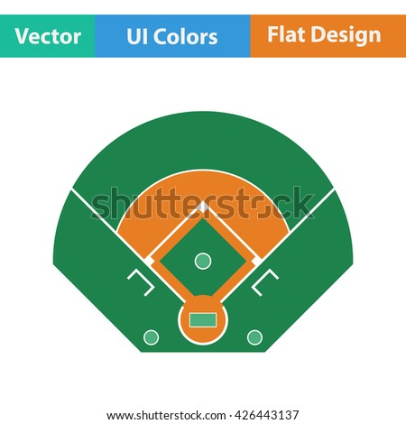 Baseball field aerial view icon. Flat design. Vector illustration. - stock vector