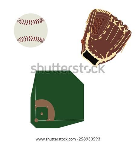 Baseball field, ball and brown leather glove vector icon set isolated, baseball diamond, sport equipment - stock vector
