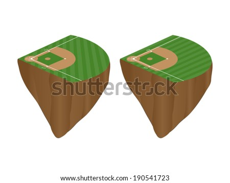 Baseball Fields with Diagonal Pattern Floating Islands - stock vector