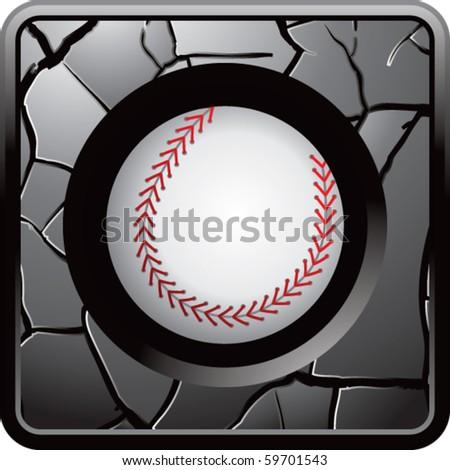 baseball gray cracked web button - stock vector
