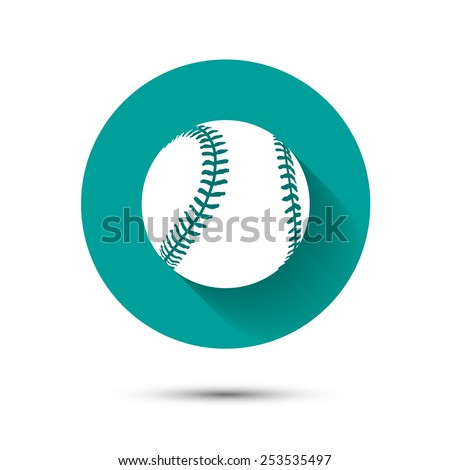 Baseball icon on green background with long shadow - stock vector