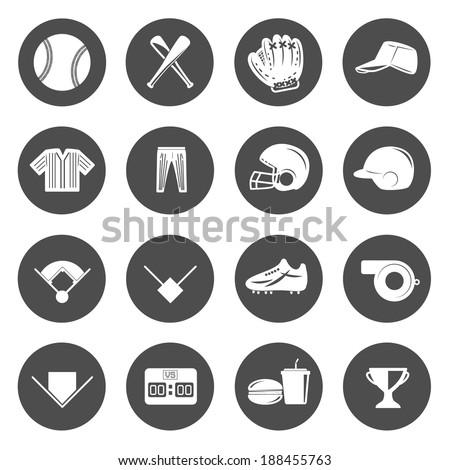 Baseball Icons Vector. - stock vector