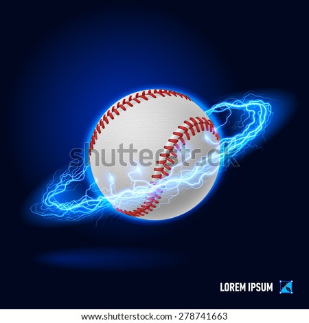 Baseball in blue flashes and lighting circle - stock vector