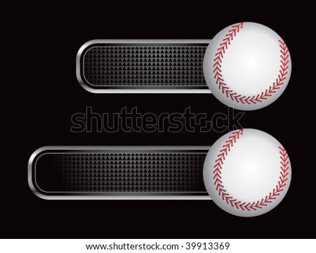 baseball on diamond checkered banners - stock vector