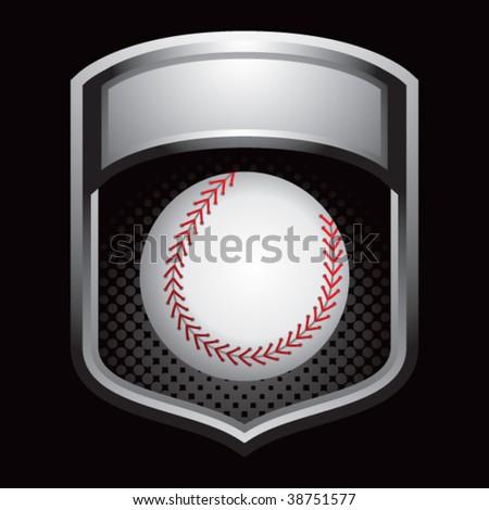 baseball on glossy display crest - stock vector