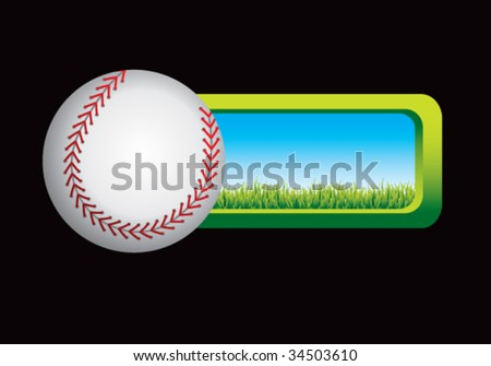 baseball on grass banner - stock vector