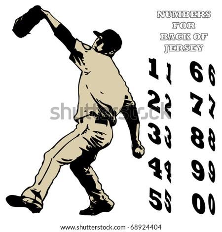 Baseball Pitcher Illustration - stock vector