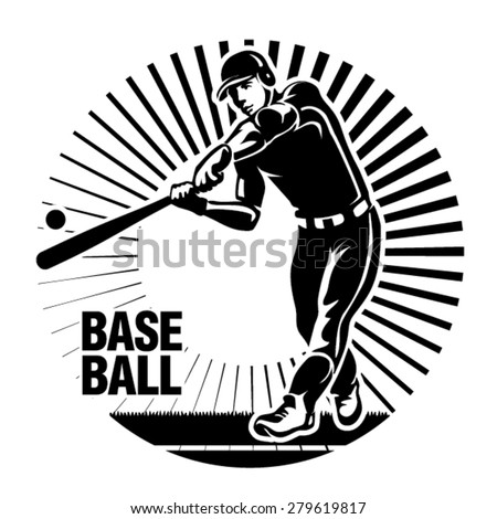 Baseball player hits a ball. Vector illustration in the engraving style. - stock vector