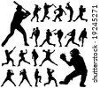 baseball player vector - stock vector