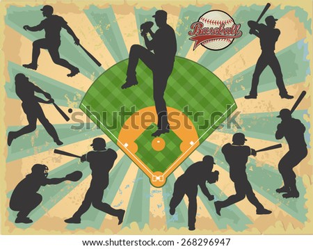 baseball players in vector silhouettes - stock vector