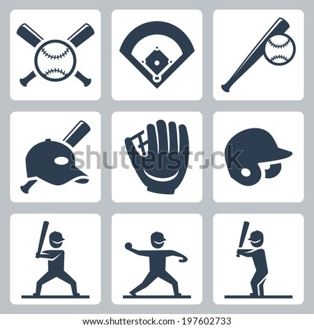 Baseball related vector icons set - stock vector