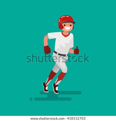 Baseball runner player  . Vector Illustration flat design - stock vector