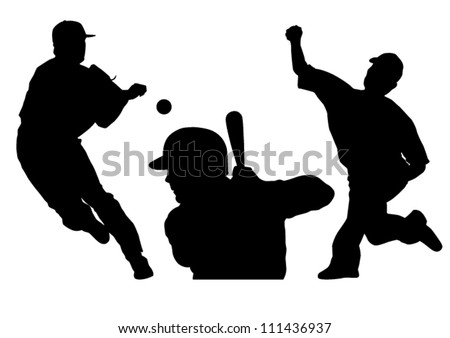 Baseball silhouettes vector illustration showing two different pitchers and one player at bat. - stock vector