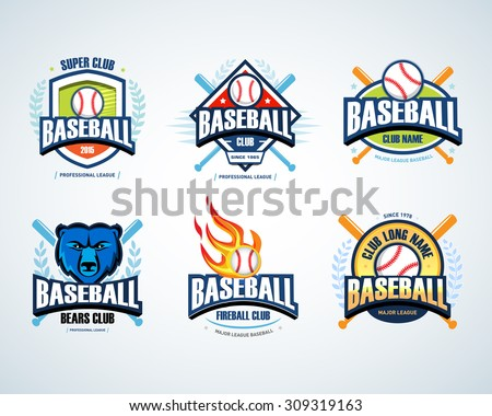 Baseball sport badge logo set. Design template and some elements for logos, badge, banner, emblem, label, insignia, T-shirt screen and printing. Baseball logotype templates. - stock vector