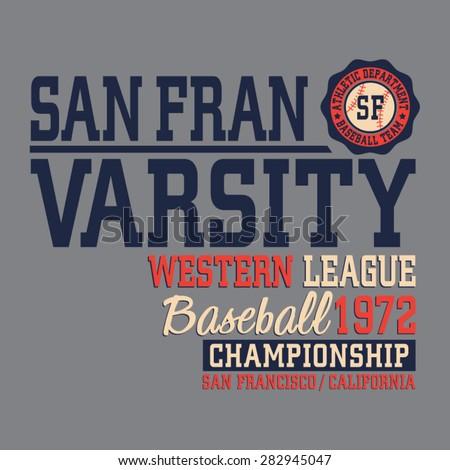 Baseball sport California typography, t-shirt graphics, vectors - stock vector