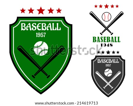 Baseball sporting emblems with shield, bats, ball and stars for sports design - stock vector