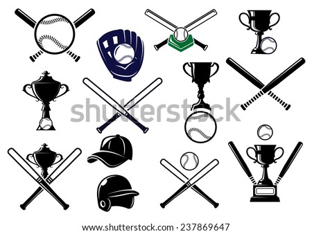 Baseball sports equipment elements for sport emblems and logo design with bats, gloves, balls, helmet, cap and trophies - stock vector
