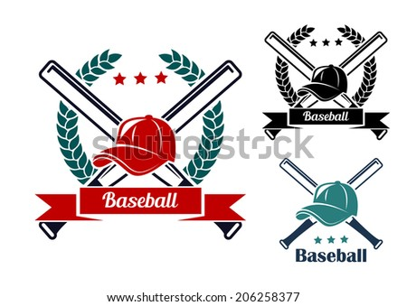 Baseball symbols with laurel wreath, crossed bats and caps for sports logo design - stock vector