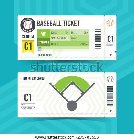 Baseball Ticket Card modern element design - stock vector