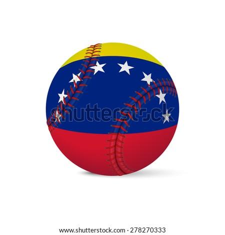 Baseball with flag of Venezuela, isolated on white background. Vector EPS10 illustration.  - stock vector