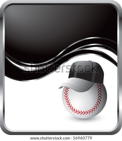 baseball with hat black wave background - stock vector