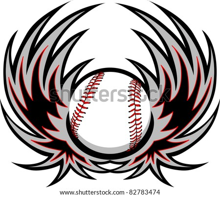 Baseball with wings - stock vector