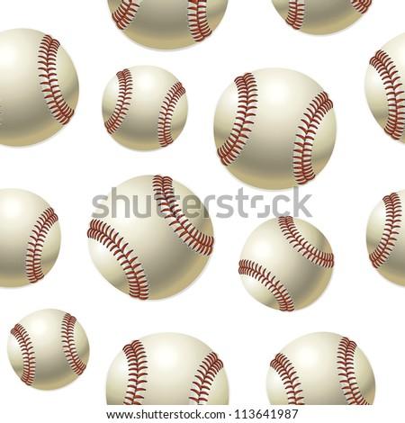 Baseballs Seamless pattern. Vector illustration - stock vector