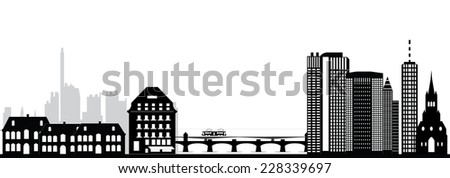 basel switzerland city skyline - stock vector