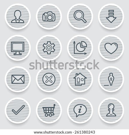 Basic black icons on gray stickers. - stock vector