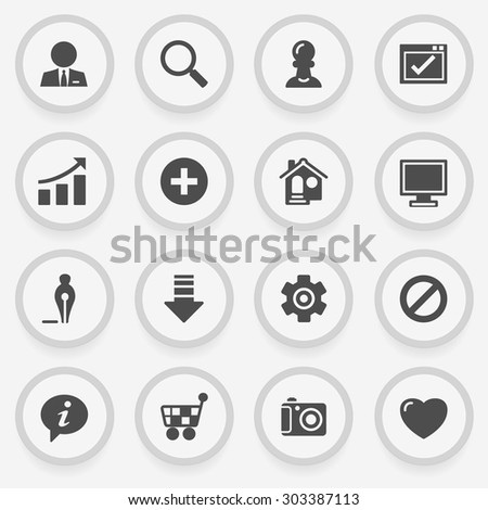 Basic black icons on stickers. Flat design. - stock vector