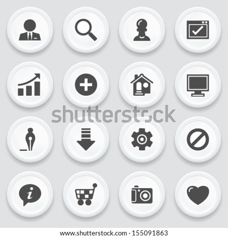 Basic black icons on with buttons. - stock vector