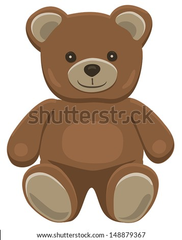 Basic brown teddy bear in solid colors on white.  - stock vector
