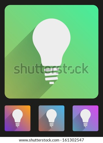 Basic bulb eco lamp simple Flat icon set for Web and Mobile Application. Illustration of technology. Vector, editable and isolated. - stock vector