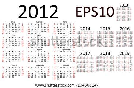 Basic Calendar 2012, 2013, 2014, 2015, 2016, 2017, 2018, 2019 in Spanish (EPS10) - stock vector