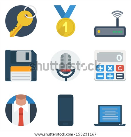 Basic Flat icon set for business Application - stock vector