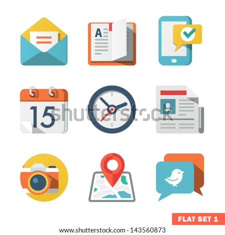 Basic Flat icon set for Web and Mobile Application. News, communications. - stock vector