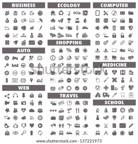 Basic icons set: Business, Auto, Web, Ecology, Shopping, Travel, Computer, Medicine and School. - stock vector