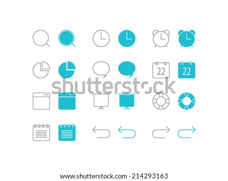 Basic Icons set. Trendy thin icons for web and mobile. Line and full versions. Normal and enable state - stock vector
