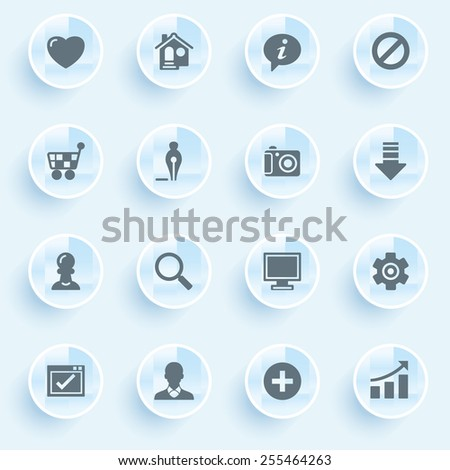 Basic icons with buttons on blue background. - stock vector