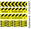 Basic illustration of police security tapes yellow with black a lot kinds of stickers and templates vector illustration danger signs - stock vector