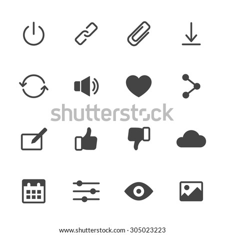 Basic interface icons set 2. Simple flat vector web icons set on white background - stock vector