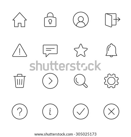Basic interface line icons for web and mobile app. Set 1 - stock vector