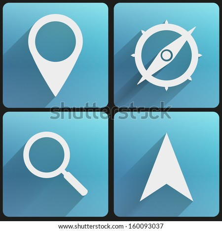 Basic map marker Flat simple icon set for Web and Mobile Application. Illustration of checkpoint. Vector, editable and isolated. - stock vector