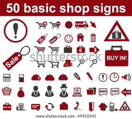 Basic Shop Signs - stock vector