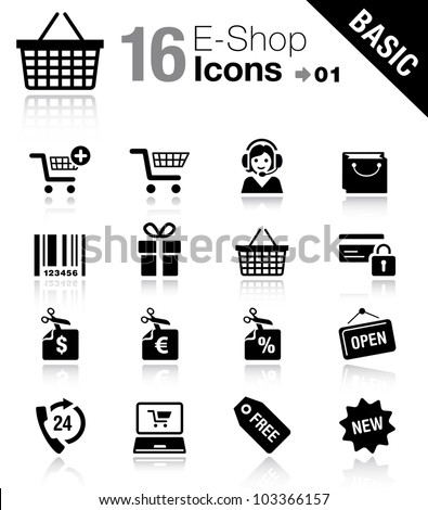 Basic - Shopping icons - stock vector