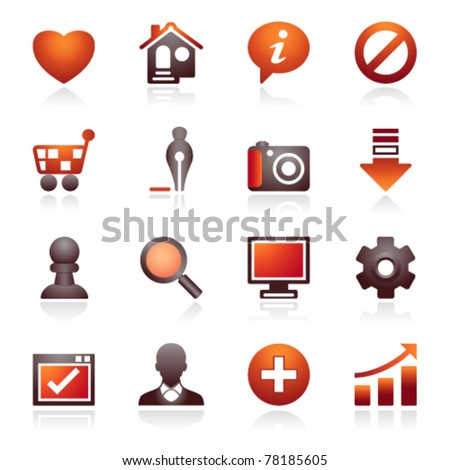 Basic web icons. Black and red series. - stock vector