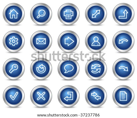 Basic web icons, blue circle buttons series - stock vector