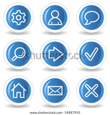 Basic web icons, blue glossy circle buttons - stock vector