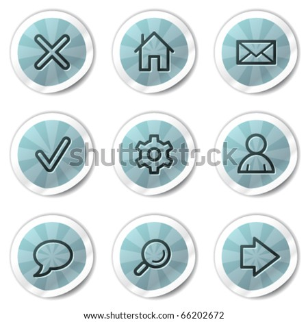 Basic web icons, blue shine stickers series - stock vector